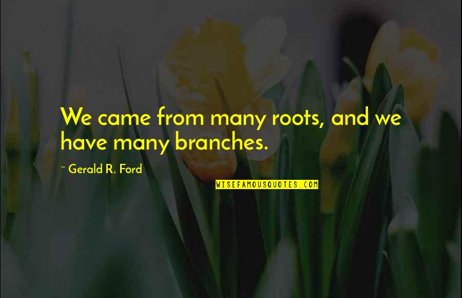 Life Is Unforgiving Quotes By Gerald R. Ford: We came from many roots, and we have