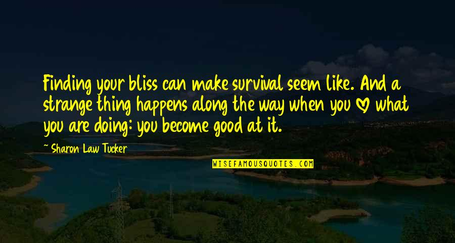 Life Is What Happens When Quotes By Sharon Law Tucker: Finding your bliss can make survival seem like.