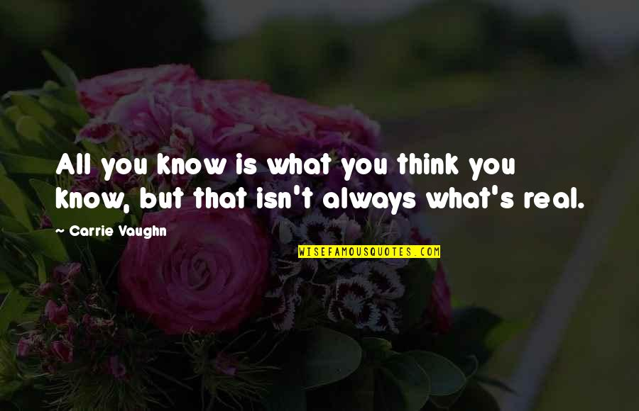 Life Isn't Real Quotes By Carrie Vaughn: All you know is what you think you