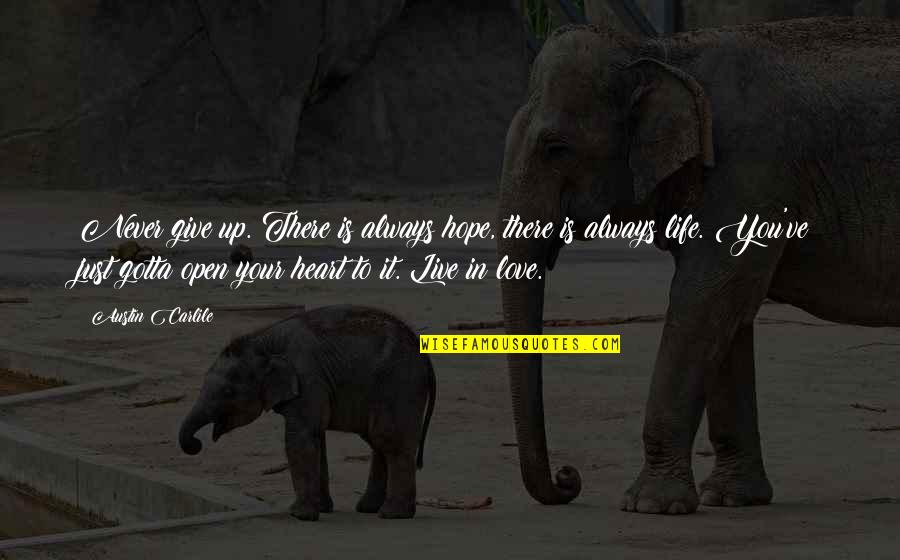 Life Live It Up Quotes By Austin Carlile: Never give up. There is always hope, there