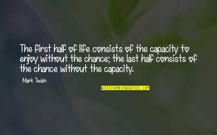 Life Mark Twain Quotes By Mark Twain: The first half of life consists of the