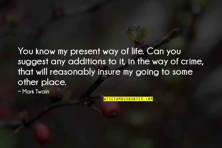 Life Mark Twain Quotes By Mark Twain: You know my present way of life. Can