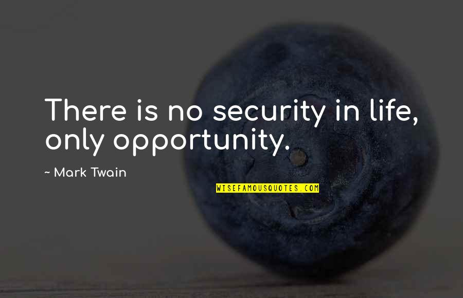 Life Mark Twain Quotes By Mark Twain: There is no security in life, only opportunity.