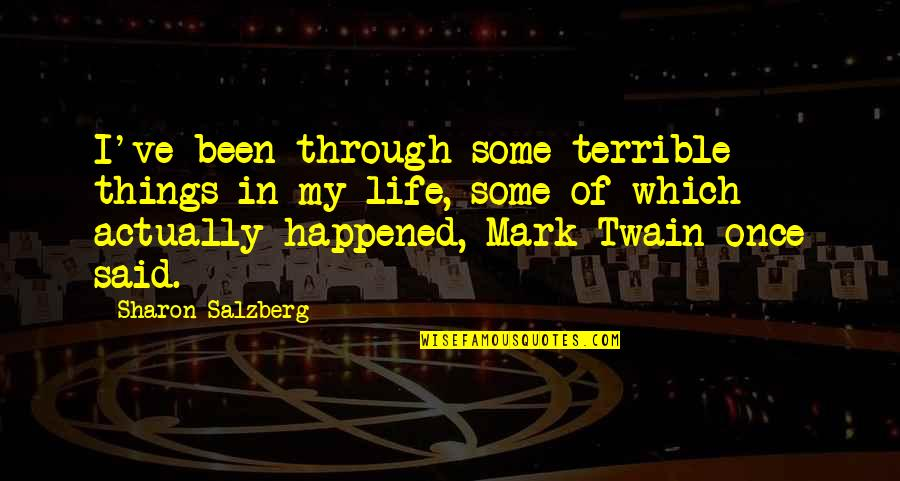 Life Mark Twain Quotes By Sharon Salzberg: I've been through some terrible things in my
