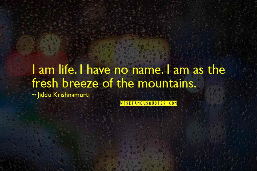 Life Mountains Quotes By Jiddu Krishnamurti: I am life. I have no name. I