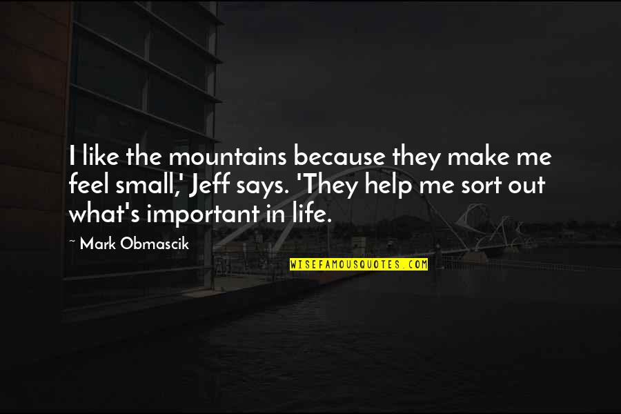 Life Mountains Quotes By Mark Obmascik: I like the mountains because they make me