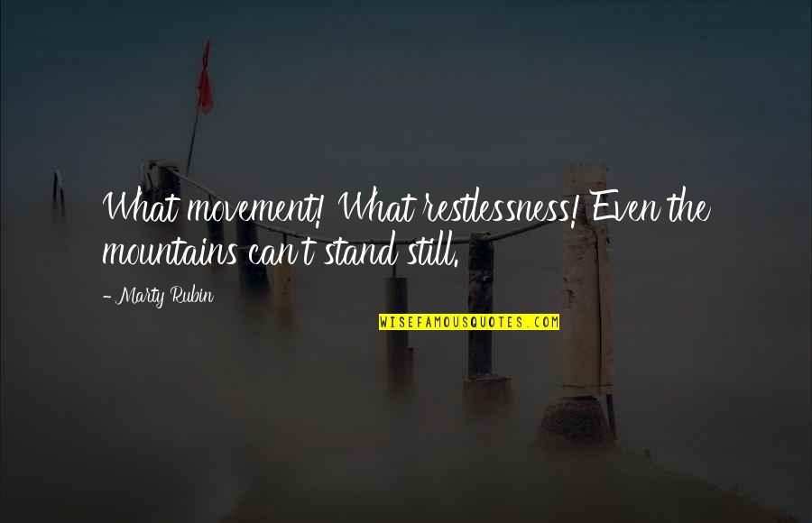 Life Mountains Quotes By Marty Rubin: What movement! What restlessness! Even the mountains can't