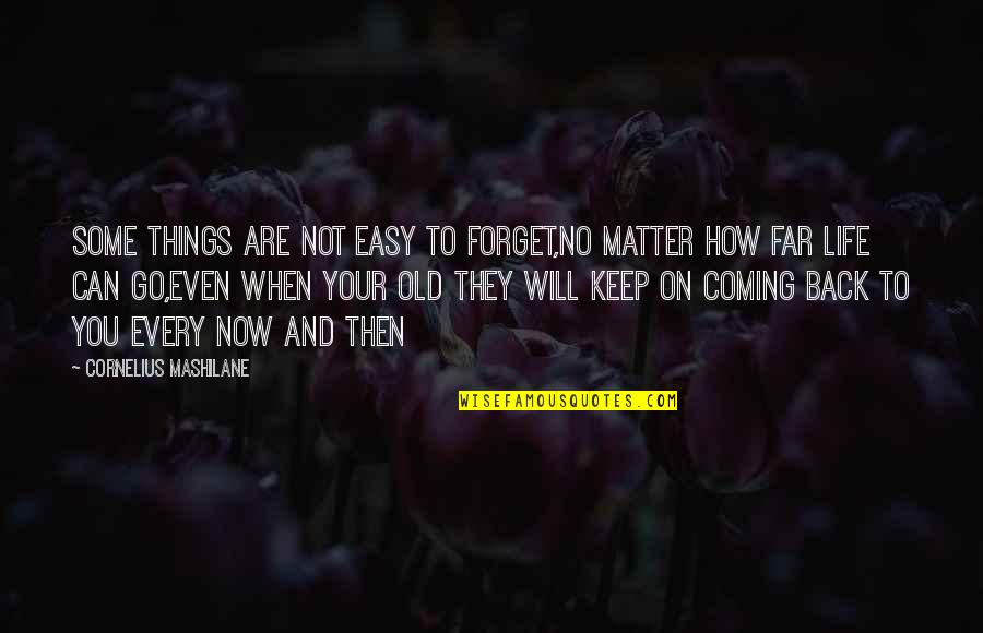 Life Not Easy Quotes By Cornelius Mashilane: Some things are not easy to forget,no matter