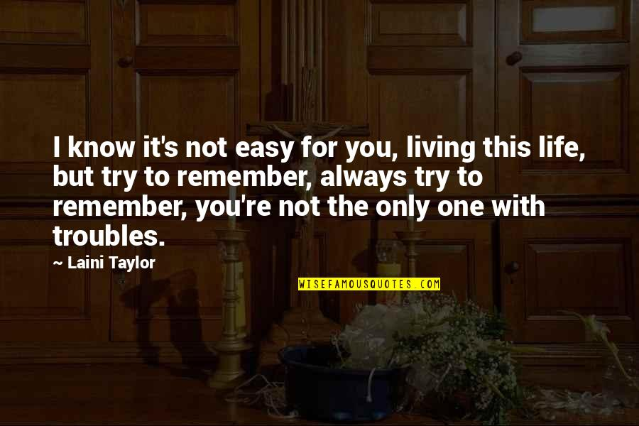 Life Not Easy Quotes By Laini Taylor: I know it's not easy for you, living