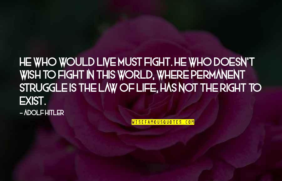 Life Of Struggle Quotes By Adolf Hitler: He who would live must fight. He who