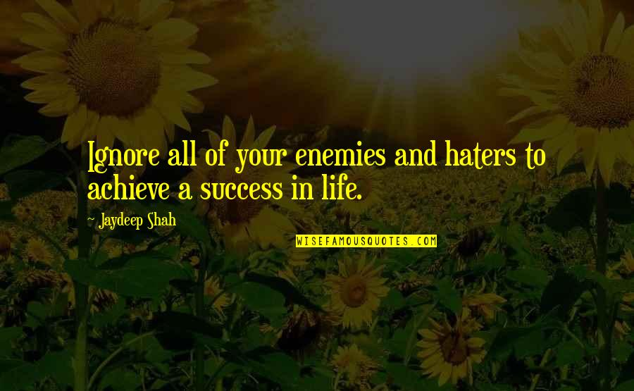 Life Of Struggle Quotes By Jaydeep Shah: Ignore all of your enemies and haters to