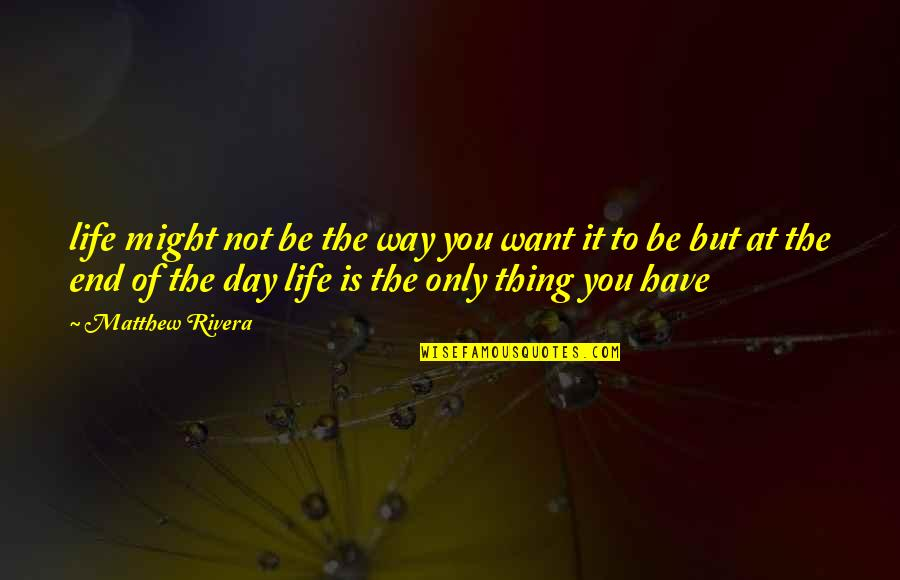 Life Of Struggle Quotes By Matthew Rivera: life might not be the way you want
