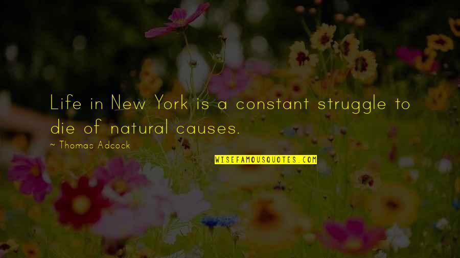 Life Of Struggle Quotes By Thomas Adcock: Life in New York is a constant struggle