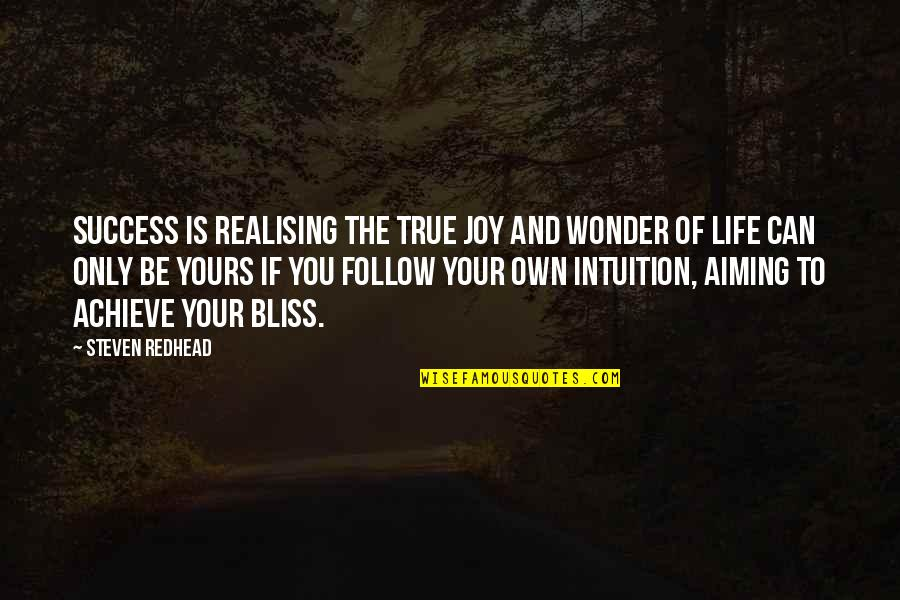 Life Of Success Quotes By Steven Redhead: Success is realising the true joy and wonder