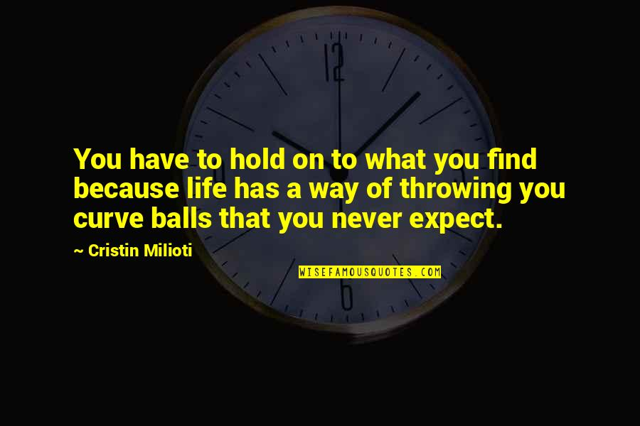 Life On Hold Quotes By Cristin Milioti: You have to hold on to what you