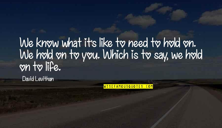 Life On Hold Quotes By David Levithan: We know what it's like to need to