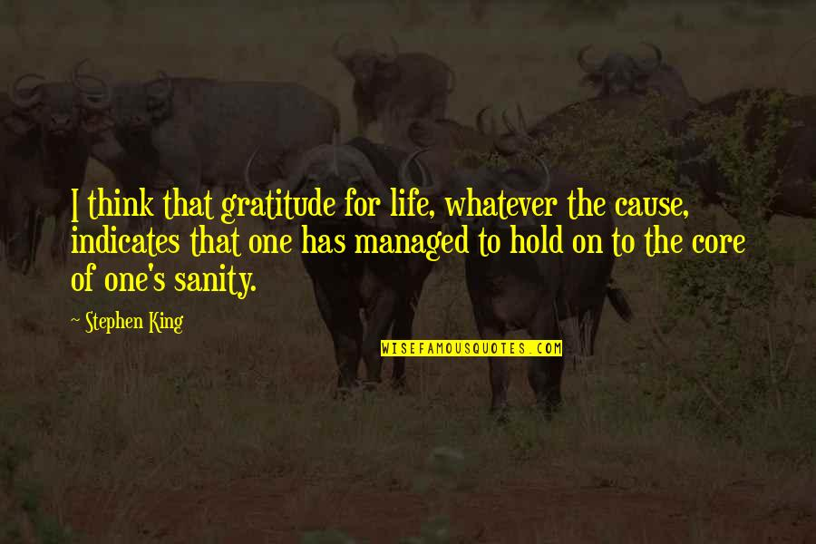 Life On Hold Quotes By Stephen King: I think that gratitude for life, whatever the