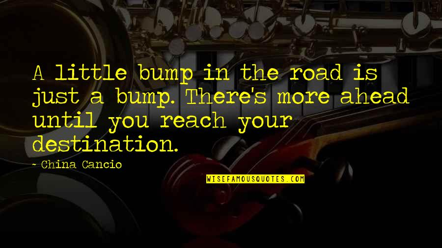 Life Proverbs Quotes By China Cancio: A little bump in the road is just