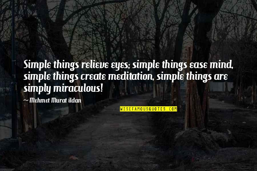 Life Quotations Quotes By Mehmet Murat Ildan: Simple things relieve eyes; simple things ease mind,