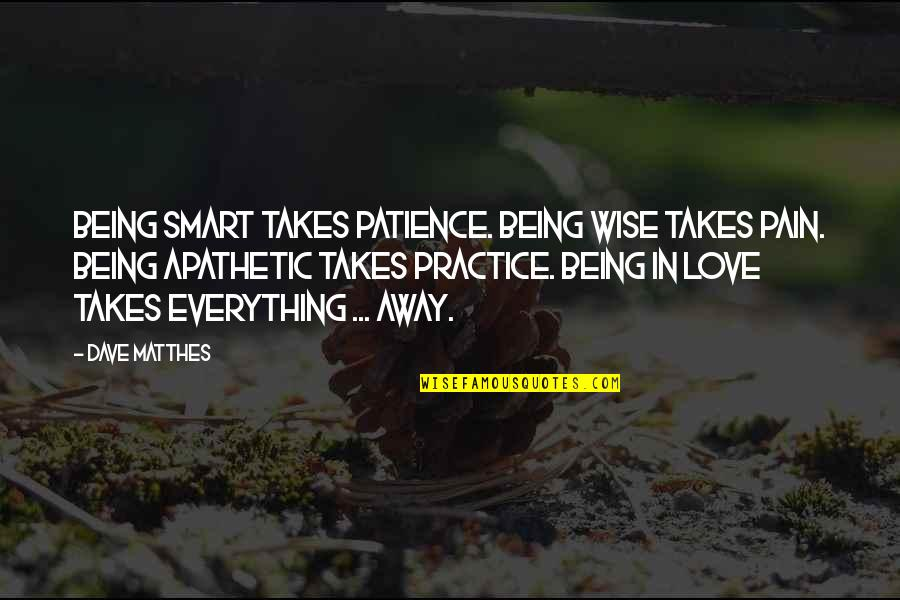 Life Sacrifice Quotes By Dave Matthes: Being smart takes patience. Being wise takes pain.