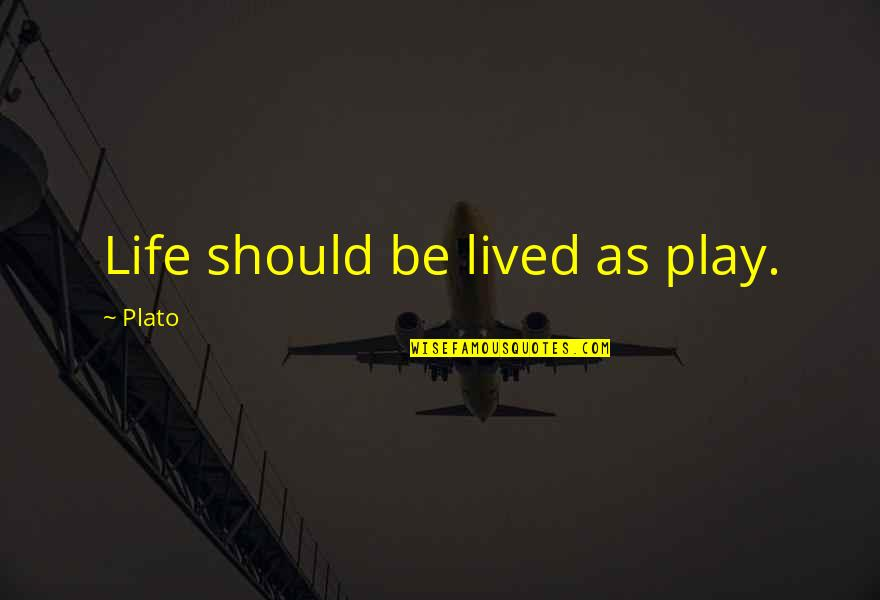 Life Should Be Lived Quotes By Plato: Life should be lived as play.