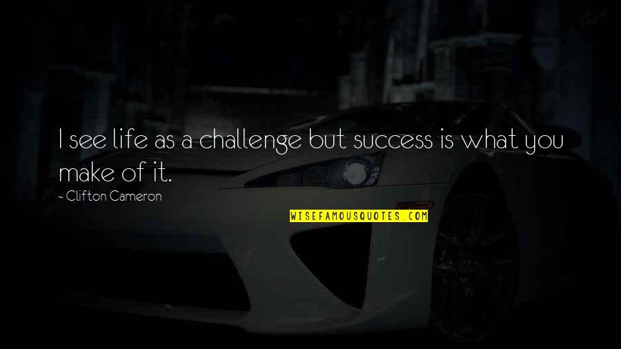 Life Success Quotes By Clifton Cameron: I see life as a challenge but success