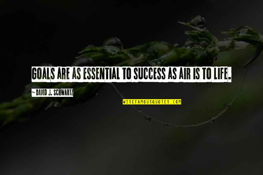 Life Success Quotes By David J. Schwartz: Goals are as essential to success as air