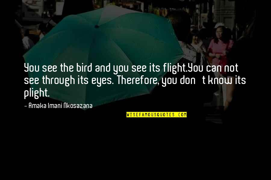 Life Through My Eyes Quotes By Amaka Imani Nkosazana: You see the bird and you see its