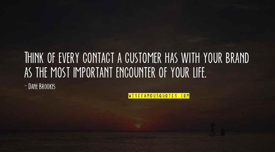 Life Tips Quotes By Dane Brookes: Think of every contact a customer has with