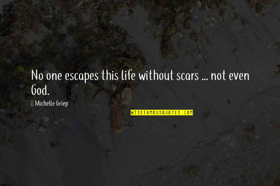 Life Without God Quotes By Michelle Griep: No one escapes this life without scars ...