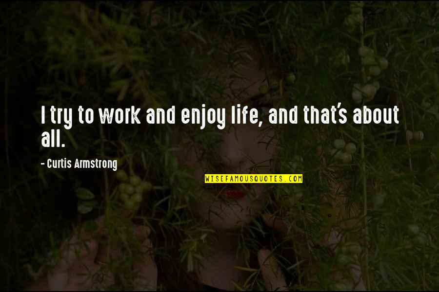 Life's All About Quotes By Curtis Armstrong: I try to work and enjoy life, and