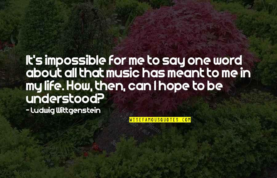 Life's All About Quotes By Ludwig Wittgenstein: It's impossible for me to say one word