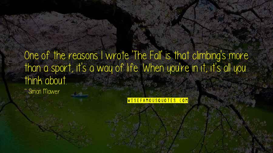 Life's All About Quotes By Simon Mawer: One of the reasons I wrote 'The Fall'