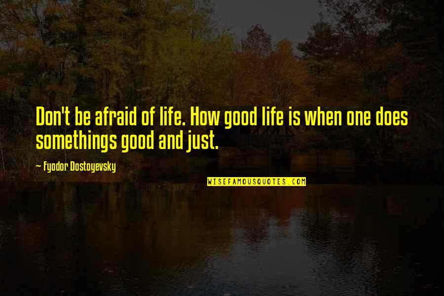 Life's Good When Quotes By Fyodor Dostoyevsky: Don't be afraid of life. How good life