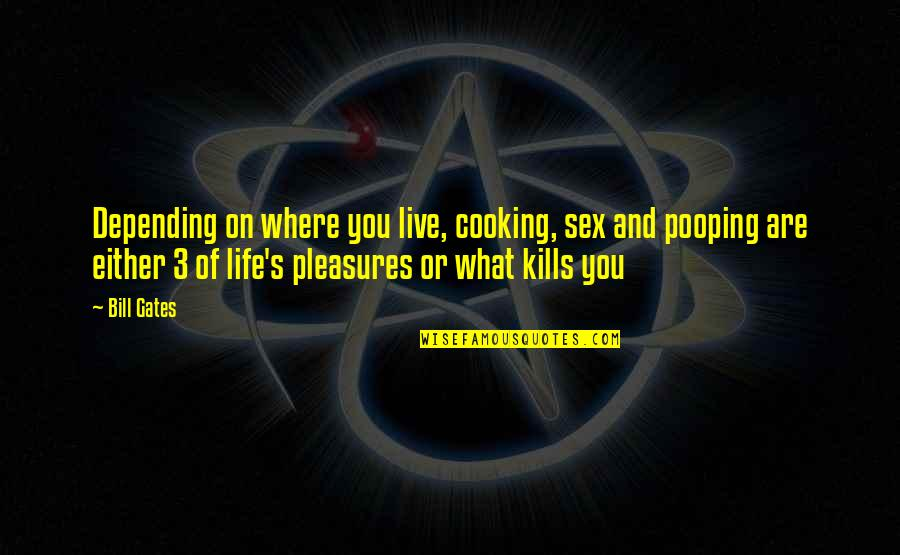 Life's Pleasures Quotes By Bill Gates: Depending on where you live, cooking, sex and