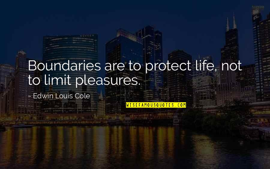 Life's Pleasures Quotes By Edwin Louis Cole: Boundaries are to protect life, not to limit
