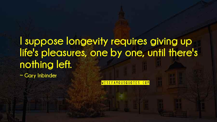 Life's Pleasures Quotes By Gary Inbinder: I suppose longevity requires giving up life's pleasures,
