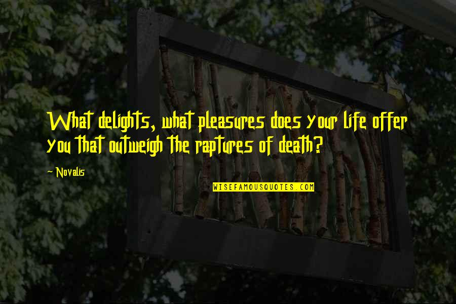 Life's Pleasures Quotes By Novalis: What delights, what pleasures does your life offer