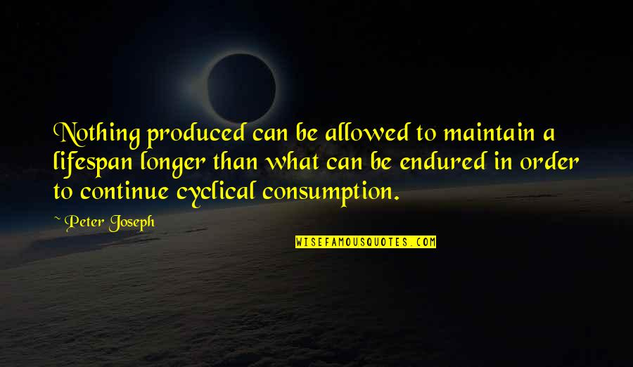 Lifespan Quotes By Peter Joseph: Nothing produced can be allowed to maintain a