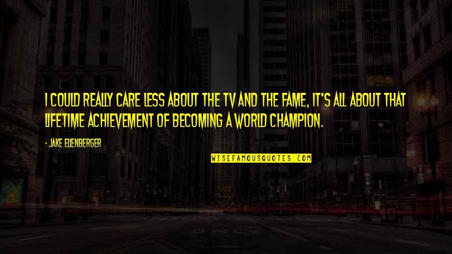 Lifetime Achievement Quotes By Jake Ellenberger: I could really care less about the TV