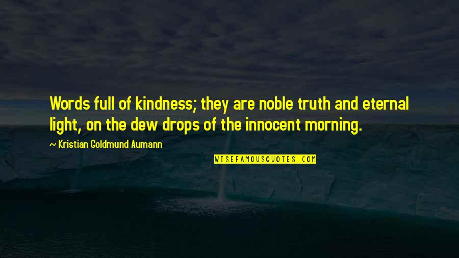 Light On Quotes By Kristian Goldmund Aumann: Words full of kindness; they are noble truth