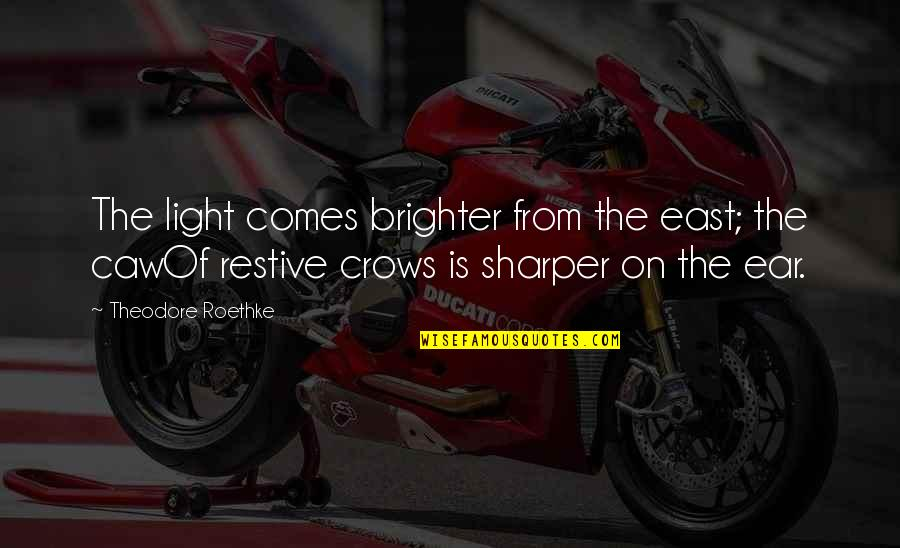 Light On Quotes By Theodore Roethke: The light comes brighter from the east; the