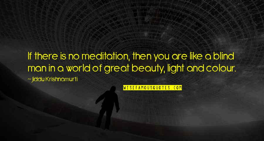 Like A Blind Man Quotes By Jiddu Krishnamurti: If there is no meditation, then you are