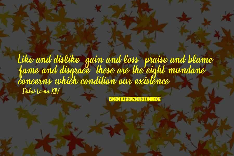 Like Dislike Quotes By Dalai Lama XIV: Like and dislike, gain and loss, praise and
