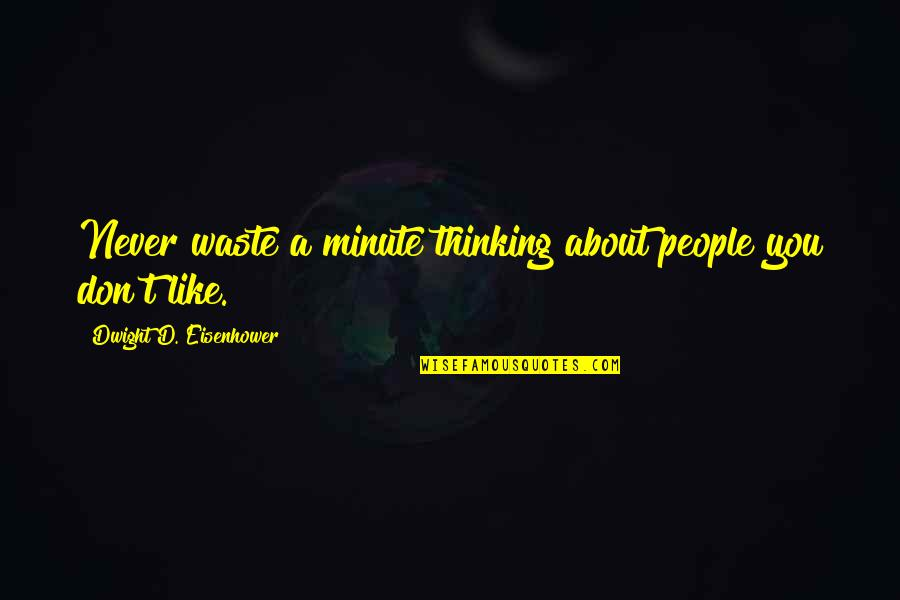 Like Dislike Quotes By Dwight D. Eisenhower: Never waste a minute thinking about people you