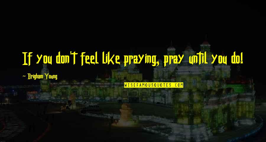 Like If You Quotes By Brigham Young: If you don't feel like praying, pray until