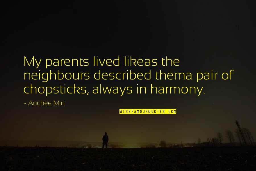 Likeas Quotes By Anchee Min: My parents lived likeas the neighbours described thema
