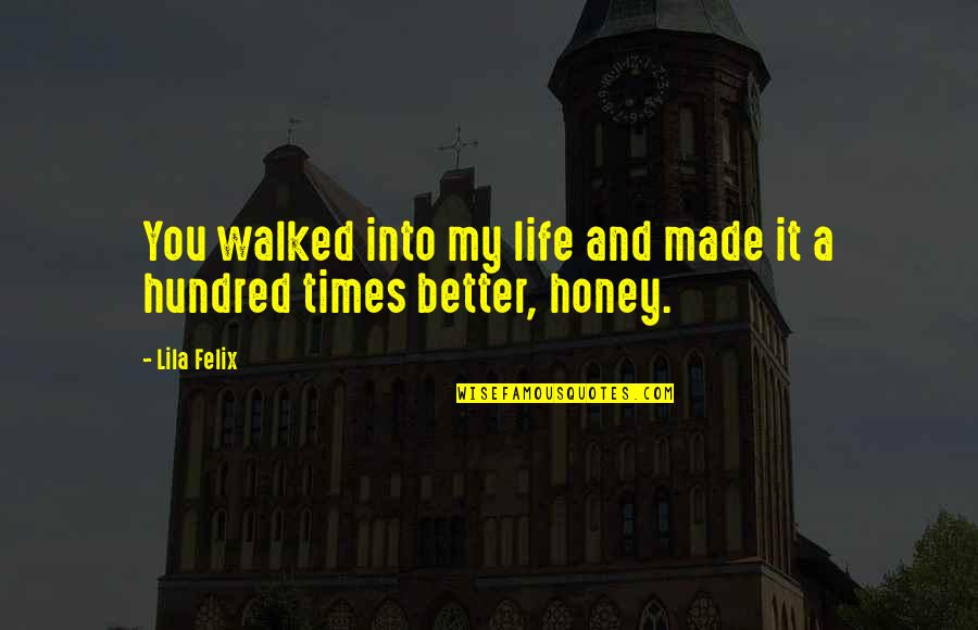 Lila Quotes By Lila Felix: You walked into my life and made it