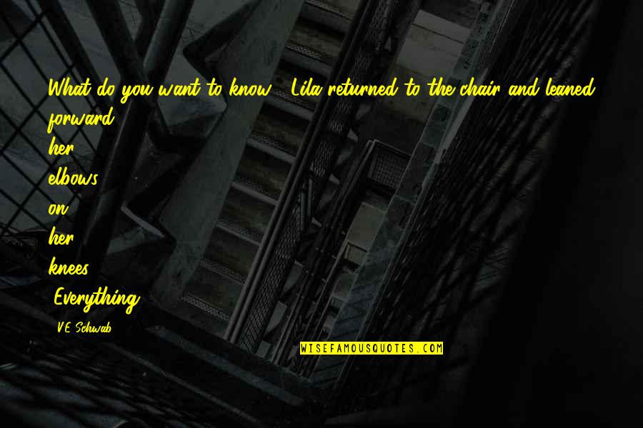 """Lila Quotes By V.E Schwab: What do you want to know?"""" Lila returned"""