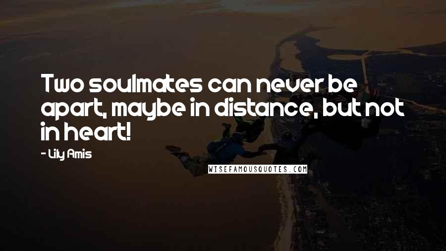 Lily Amis quotes: Two soulmates can never be apart, maybe in distance, but not in heart!